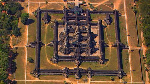 Vue aérienne du temple d'Angkor