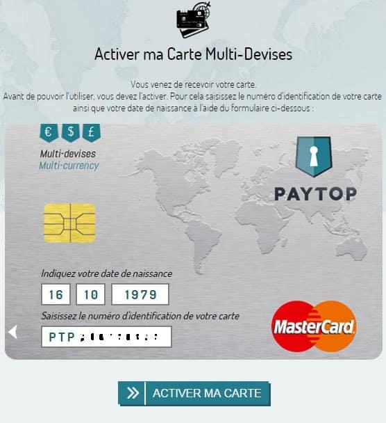 Activer la carte Paytop