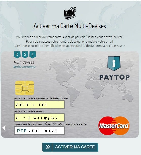 Activer carte carte Paytop 2