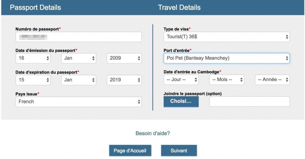 Demande e-visa Cambodge