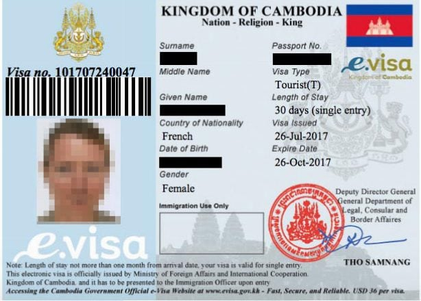 Reçu e-visa Cambodge