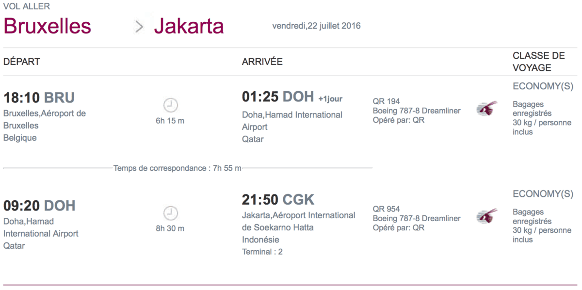 Vol Qatar Airways