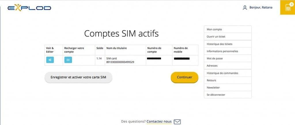 Compte - Carte sim internationale Explod