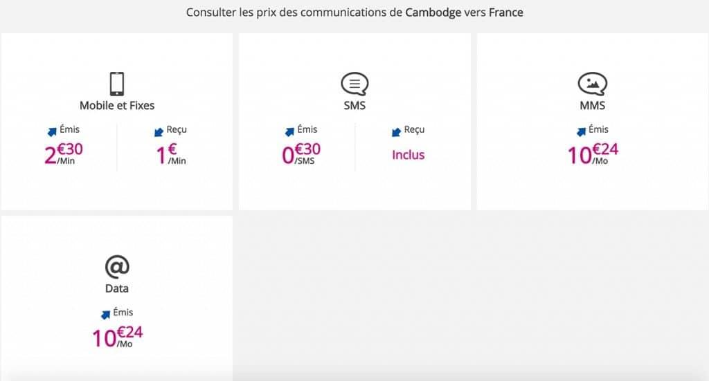 Tarifs Cambodge vers la France B&Y