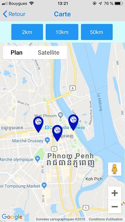 Carte de médecins à Phnom Penh