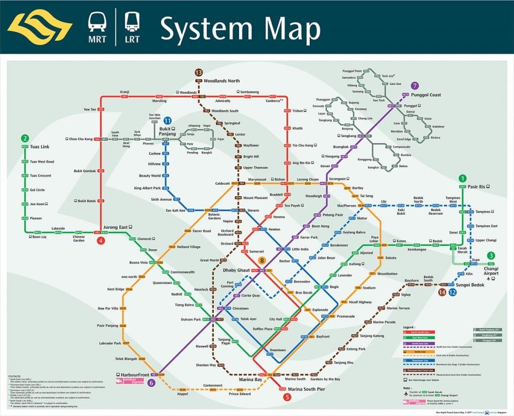 Carte MRT pour visiter Singapour